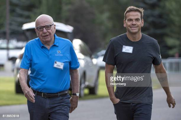 Rupert Murdoch cochairman of TwentyFirst Century Fox Inc left and Lachlan Murdoch cochairman of TwentyFirst Century Fox Inc arrive for a morning...