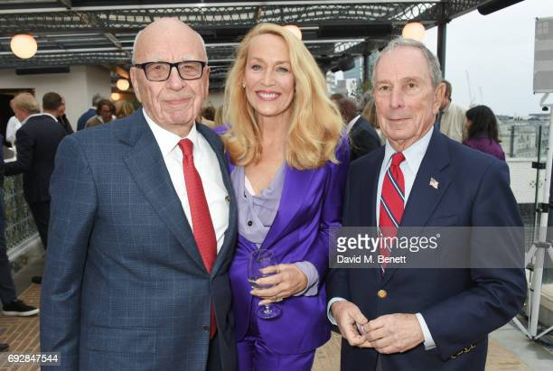 Rupert Murdoch Jerry Hall and Michael Bloomberg attend the launch of new book 'Climate Of Hope' by Michael Bloomberg and Carl Pope at The Ned on June...