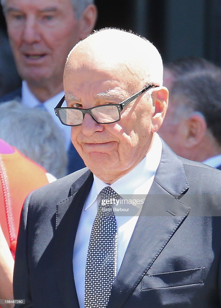 <a gi-track='captionPersonalityLinkClicked' href=/galleries/search?phrase=Rupert+Murdoch&family=editorial&specificpeople=160571 ng-click='$event.stopPropagation()'>Rupert Murdoch</a> leaves after attending the Dame Elisabeth Murdoch public memorial at St Paul's Cathedral on December 18, 2012 in Melbourne, Australia. Dame Murdoch passed away on December 5th, aged 103.