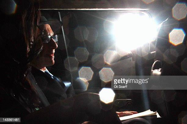 Rupert Murdoch leaves his home in central London to travel to the High Court where he is due to give evidence to the Leveson Inquiry on April 25 2012...