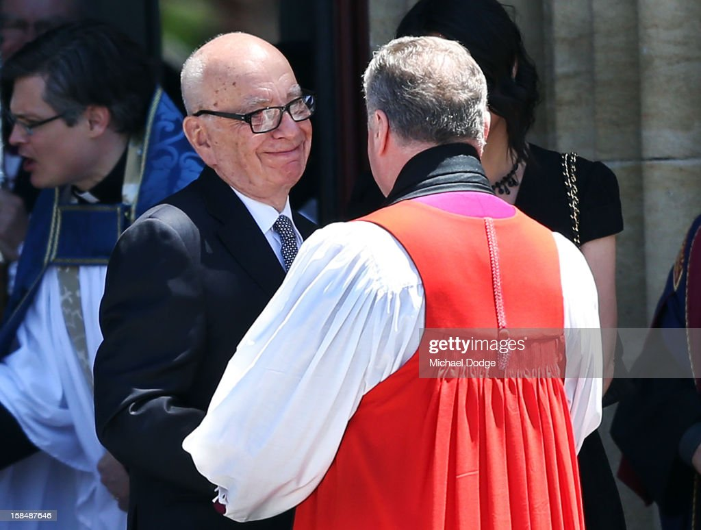 <a gi-track='captionPersonalityLinkClicked' href=/galleries/search?phrase=Rupert+Murdoch&family=editorial&specificpeople=160571 ng-click='$event.stopPropagation()'>Rupert Murdoch</a> leaves the Dame Elisabeth Murdoch public memorial at St Paul's Cathedral on December 18, 2012 in Melbourne, Australia. Dame Murdoch passed away on December 5th, aged 103.