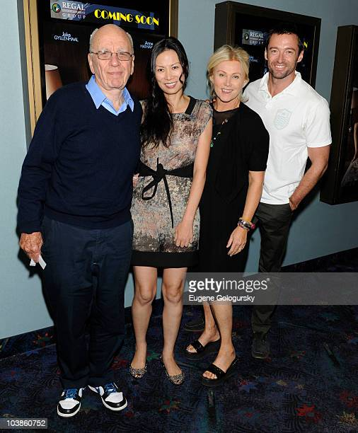 Rupert Murdoch Wendi Deng Deborah LeeFurness and Hugh Jackman attend a screening of Twentieth Century Fox's 'Love Other Drugs' at Regal East Hampton...