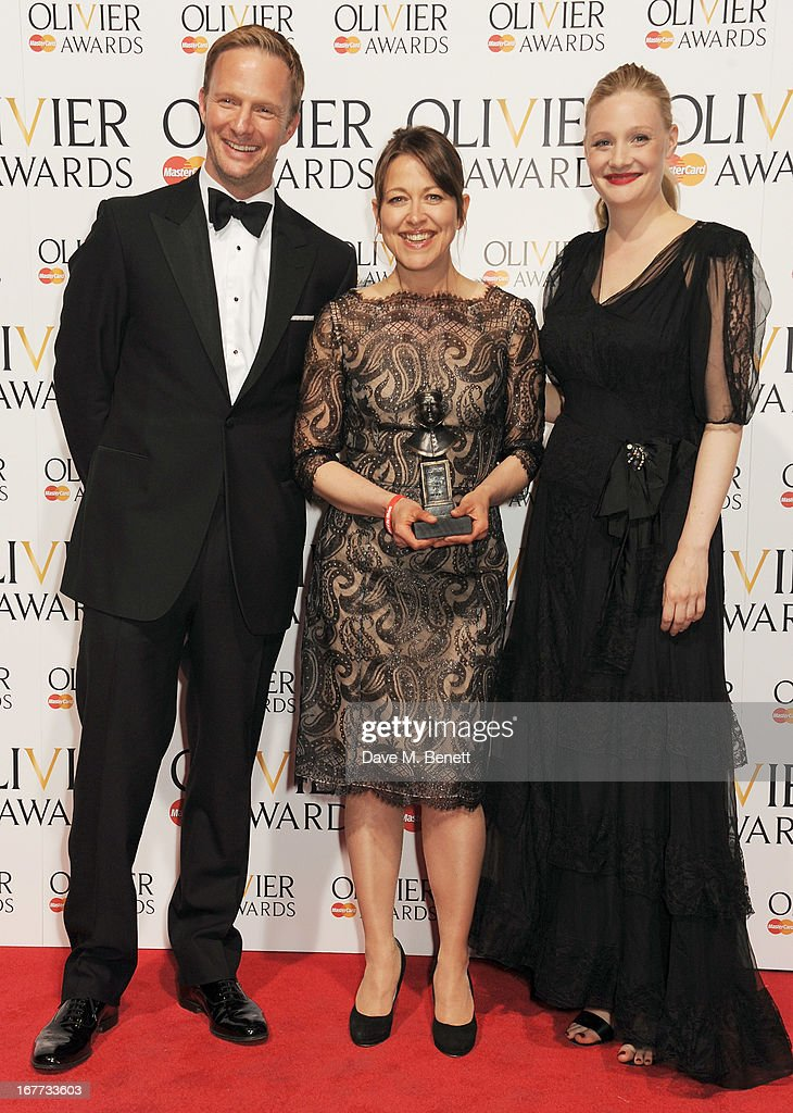 Rupert Penry Jones, Nicola Walker, winner of Best Actress in a Supporting Role, and Romola Garai pose in the press room at The Laurence Olivier Awards 2013 at The Royal Opera House on April 28, 2013 in London, England.