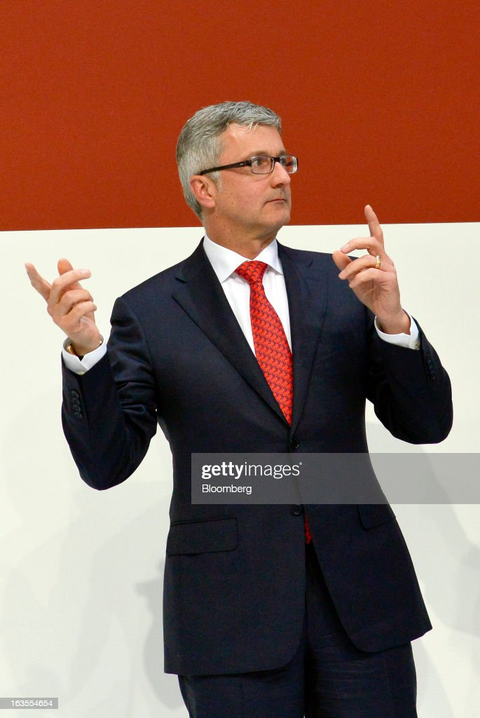 <a gi-track='captionPersonalityLinkClicked' href=/galleries/search?phrase=Rupert+Stadler&family=editorial&specificpeople=870122 ng-click='$event.stopPropagation()'>Rupert Stadler</a>, chief executive officer of Audi AG, gestures as he leaves the company's earnings news conference at the Audi AG headquarters in Ingolstadt, Germany, on Tuesday, March 12, 2013. Audi AG, the world's second-biggest luxury carmaker, is aiming for a 'slight' increase in revenue this year and reaching an operating margin at the upper end of its long-term target corridor, helped by sales of compact SUVs and the new A3 sedan. Photographer: Guenter Schiffmann/Bloomberg via Getty Images