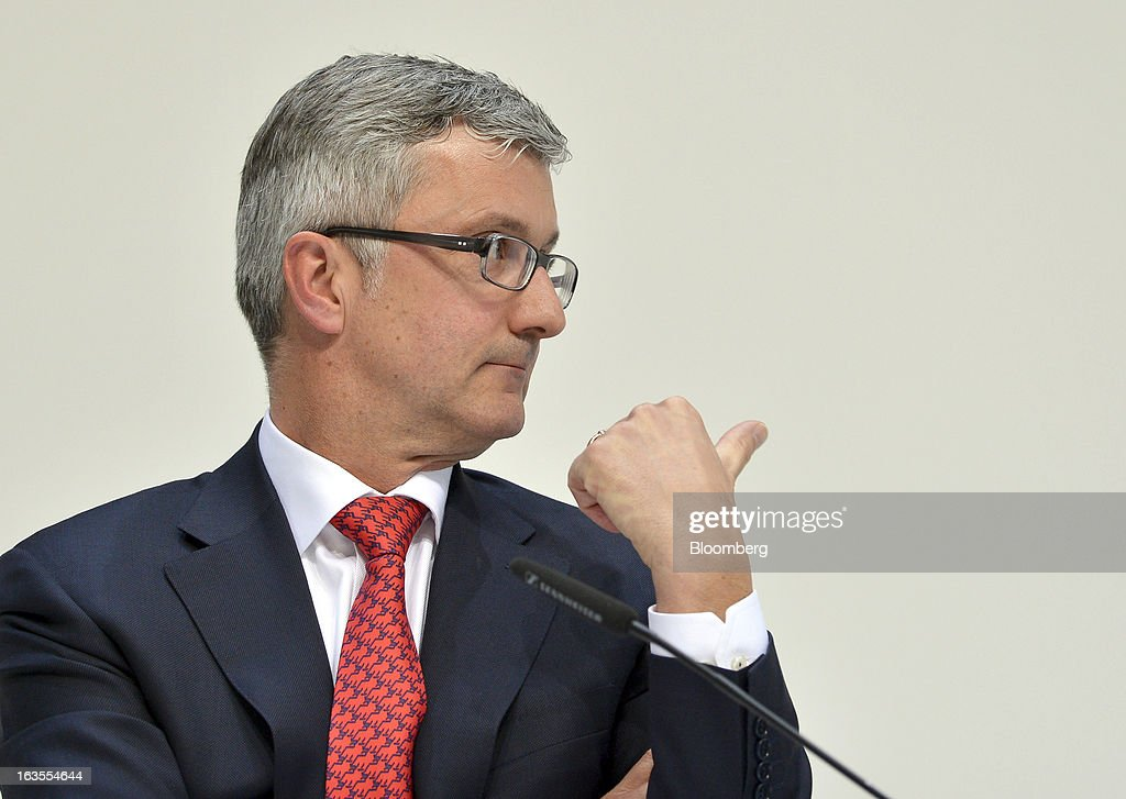 <a gi-track='captionPersonalityLinkClicked' href=/galleries/search?phrase=Rupert+Stadler&family=editorial&specificpeople=870122 ng-click='$event.stopPropagation()'>Rupert Stadler</a>, chief executive officer of Audi AG, gestures during the company's earnings news conference at the Audi AG headquarters in Ingolstadt, Germany, on Tuesday, March 12, 2013. Audi AG, the world's second-biggest luxury carmaker, is aiming for a 'slight' increase in revenue this year and reaching an operating margin at the upper end of its long-term target corridor, helped by sales of compact SUVs and the new A3 sedan. Photographer: Guenter Schiffmann/Bloomberg via Getty Images