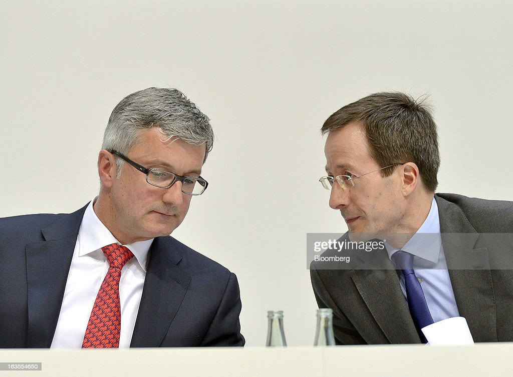 <a gi-track='captionPersonalityLinkClicked' href=/galleries/search?phrase=Rupert+Stadler&family=editorial&specificpeople=870122 ng-click='$event.stopPropagation()'>Rupert Stadler</a>, chief executive officer of Audi AG, left, speaks with Axel Strotbek, chief financial officer of Audi AG, during the company's earnings news conference at the Audi AG headquarters in Ingolstadt, Germany, on Tuesday, March 12, 2013. Audi AG, the world's second-biggest luxury carmaker, is aiming for a 'slight' increase in revenue this year and reaching an operating margin at the upper end of its long-term target corridor, helped by sales of compact SUVs and the new A3 sedan. Photographer: Guenter Schiffmann/Bloomberg via Getty Images