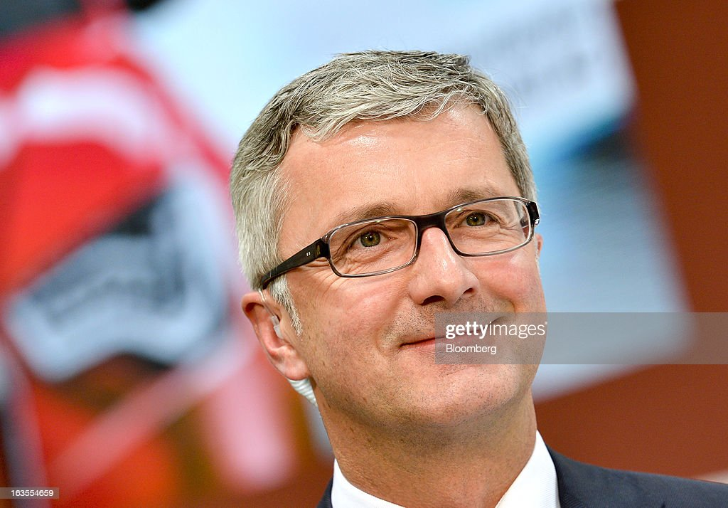 <a gi-track='captionPersonalityLinkClicked' href=/galleries/search?phrase=Rupert+Stadler&family=editorial&specificpeople=870122 ng-click='$event.stopPropagation()'>Rupert Stadler</a>, chief executive officer of Audi AG, pauses during a television interview following the company's earnings news conference at the Audi AG headquarters in Ingolstadt, Germany, on Tuesday, March 12, 2013. Audi AG, the world's second-biggest luxury carmaker, is aiming for a 'slight' increase in revenue this year and reaching an operating margin at the upper end of its long-term target corridor, helped by sales of compact SUVs and the new A3 sedan. Photographer: Guenter Schiffmann/Bloomberg via Getty Images