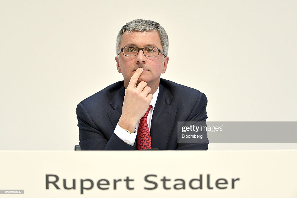 Rupert Stadler, chief executive officer of Audi AG, pauses during the company's earnings news conference at the Audi AG headquarters in Ingolstadt, Germany, on Tuesday, March 12, 2013. Audi AG, the world's second-biggest luxury carmaker, is aiming for a 'slight' increase in revenue this year and reaching an operating margin at the upper end of its long-term target corridor, helped by sales of compact SUVs and the new A3 sedan. Photographer: Guenter Schiffmann/Bloomberg via Getty Images