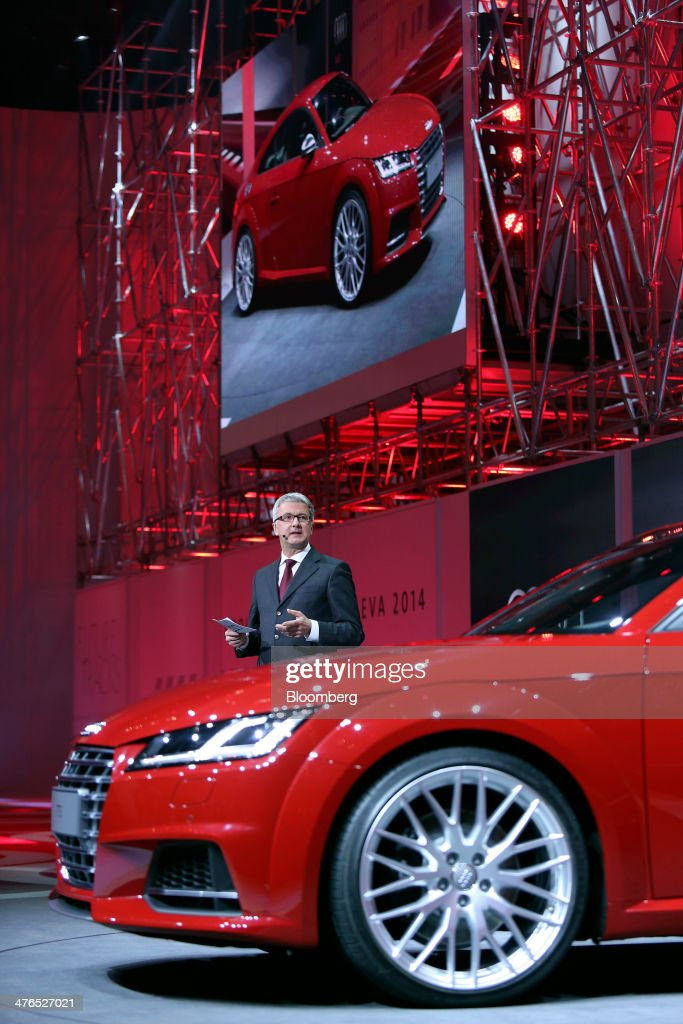 <a gi-track='captionPersonalityLinkClicked' href=/galleries/search?phrase=Rupert+Stadler&family=editorial&specificpeople=870122 ng-click='$event.stopPropagation()'>Rupert Stadler</a>, chief executive officer of Audi AG, speaks as he unveils the new Audi TTS automobile, produced by Audi AG, during a news conference ahead of the opening day of the 84th Geneva International Motor Show in Geneva, Switzerland, on Monday, March 3, 2014. The International Geneva Motor Show will run from Mar. 4, and showcase the latest models from the world's top automakers. Photographer: Chris Ratcliffe/Bloomberg via Getty Images