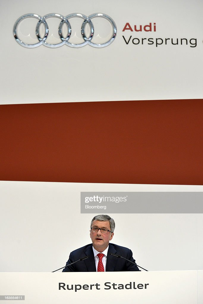 Rupert Stadler, chief executive officer of Audi AG, speaks during the company's earnings news conference at the Audi AG headquarters in Ingolstadt, Germany, on Tuesday, March 12, 2013. Audi AG, the world's second-biggest luxury carmaker, is aiming for a 'slight' increase in revenue this year and reaching an operating margin at the upper end of its long-term target corridor, helped by sales of compact SUVs and the new A3 sedan. Photographer: Guenter Schiffmann/Bloomberg via Getty Images