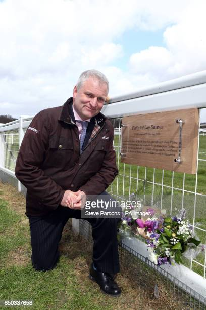 Rupert Trevelyan MD for Epsom racecourse unveils a Plaque for suffragette Emily Davison at Tattenham Corner at Epsom Downs Racecourse