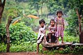 Group of children posing for the camera shot at Seeleru Forest Near Vishakapatnam,  INDIA