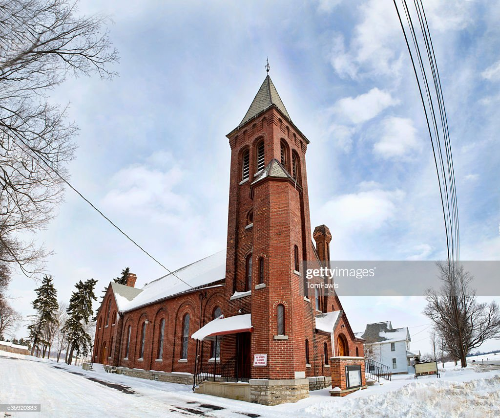 Rural Church in the Snow : Stock Photo