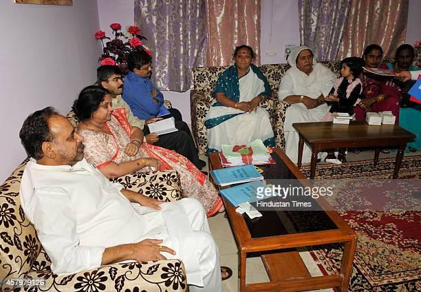 Rural Development Minister Gopal Bhargava meeting with group of eunuchs led by former MLA Shabnam Mausi and former Sagar mayor Kamala Bua to solicit...