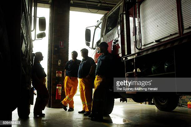 Rural Fire Service members from the Warringah / Pittwater district at Belrose RFS Station on 31 August 2004 SMH NEWS Picture by WADE LAUBE