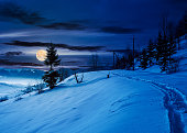 rural footpath through snowy hillside at night in full moon light. beautiful scenery of mountainous countryside in winter