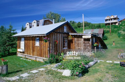 A rural house in the small Russian village of Ninilchik in Alaska. : Stock Photo