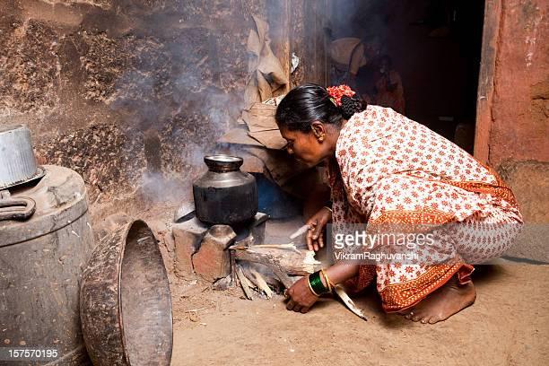 Rural Indian Woman preparing food