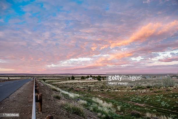 Rural landscape at sunrise, Williston, Northern Cape Province, South Africa