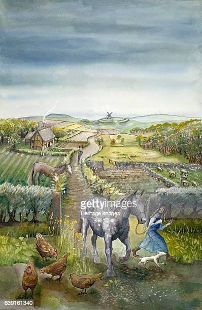 Rural landscape c17th century Reconstruction drawing of imaginary rural landscape c1600 Tudor Farming Artist Judith Dobie