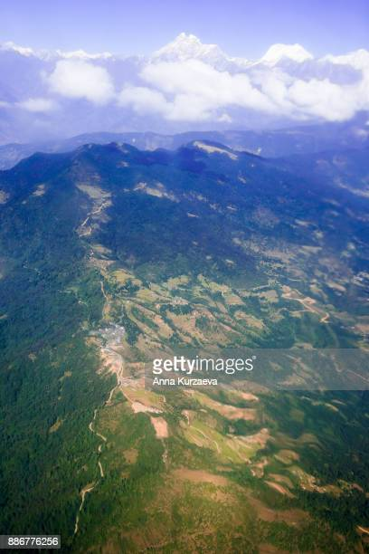 Rural landscape of Lukla from the plane window, Nepal