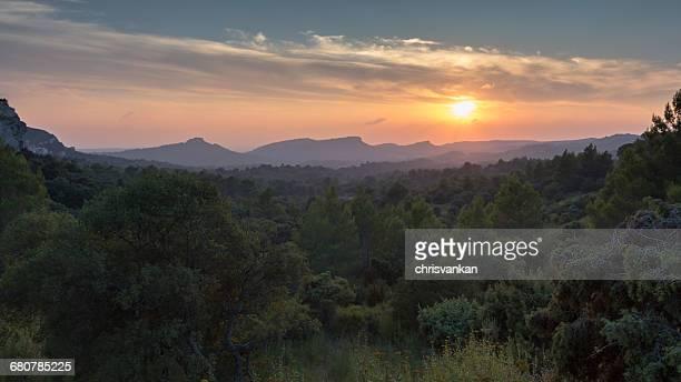 Rural landscape sunset, Les Baux de Provence, Cote' d'Azur, France