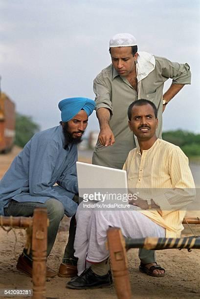Rural man using a laptop
