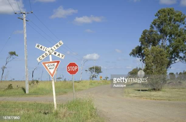 Rural railway crossing Queensland Australia