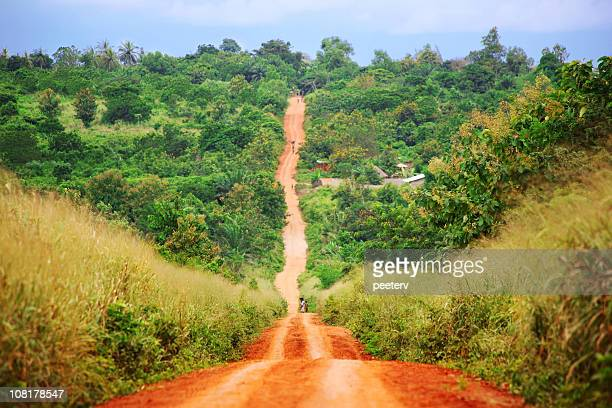 Rural Red Dirt Road in African Countryside