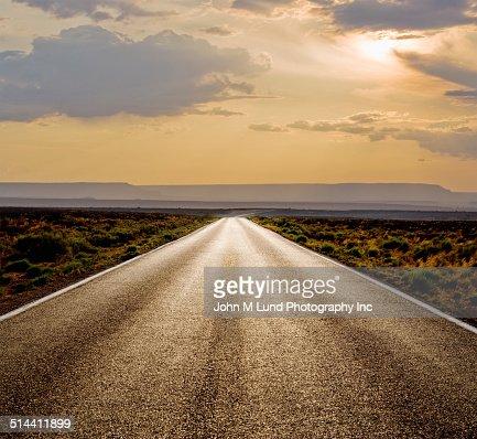 Rural road in desert landscape