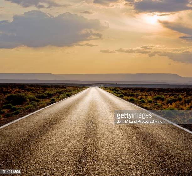Rural road in desert landscape
