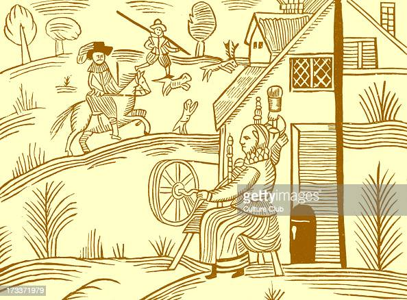 Rural scene after a mid seventeenth century illustration taken from a ballad in the Roxburghe Collection in the British Library The Roxburghe...