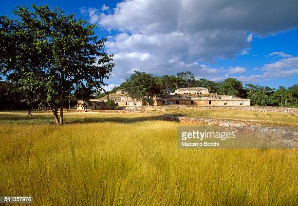 Rural scene with ruins of palace, Labna, Yucatan, Mexico