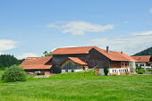 'rural scenery with beautiful farm house in Germany,Europe.'