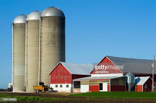 Rural Wisconsin Farm With Red Barns and Silos