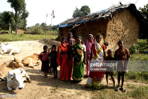 Rural Women Standing with their Children, Carm Daksh, Bilaspur, Chhattisgarh, India