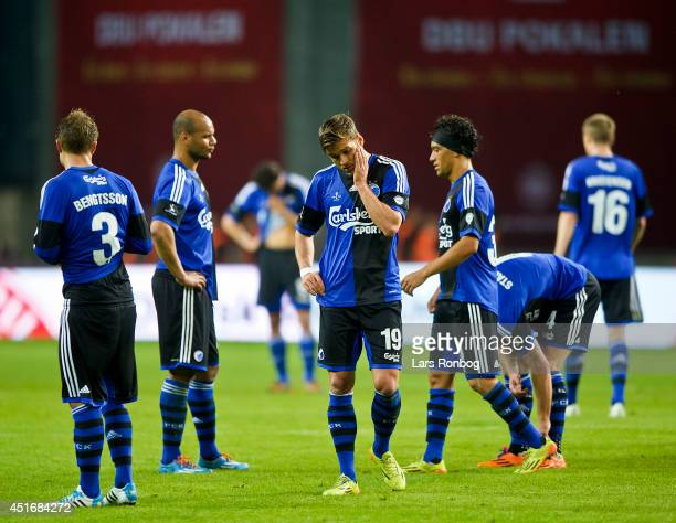 Rurik Gisalson of FC Copenhagen looks dejected after the DBU Pokalen Cup Final match between AaB Aalborg and FC Copenhagen in Parken Stadium on May...