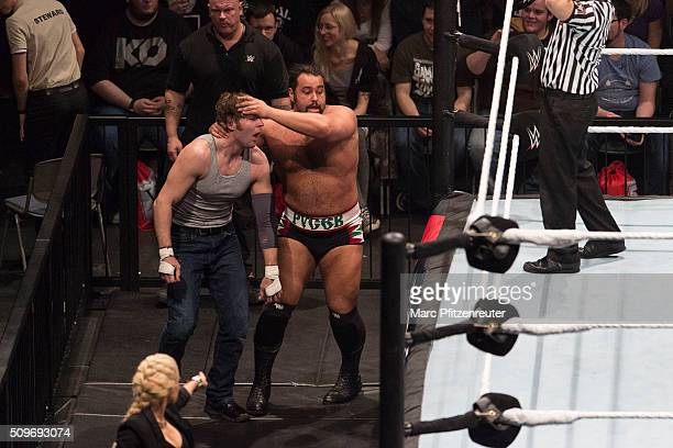 Rusev competes against Dean Ambrose at the Road to WrestleMania at the Lanxess Arena on February 11 2016 in Cologne Germany