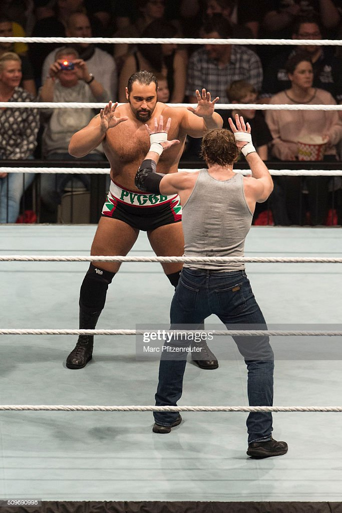 Rusev competes in the ring against Dean Ambrose at the Road to WrestleMania at the Lanxess Arena on February 11, 2016 in Cologne, Germany.