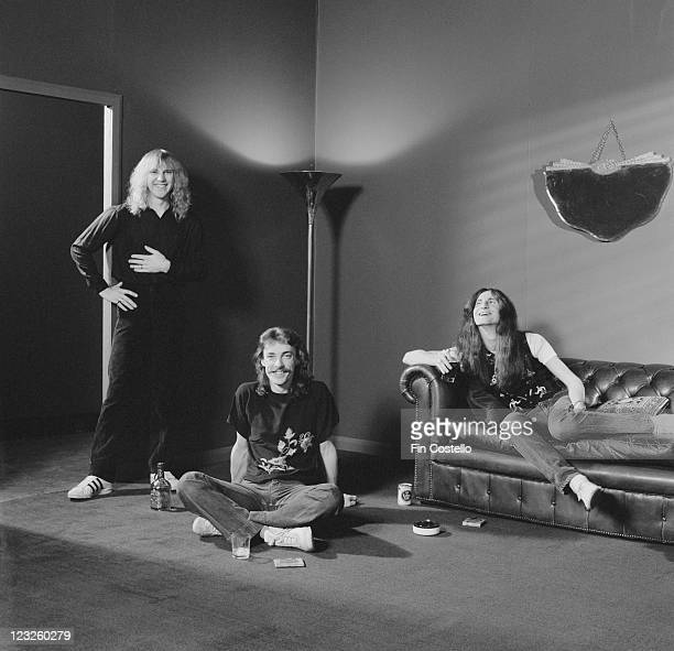 Rush Canadian rock band Rush pose for a group studio portrait United Kingdom in May 1979