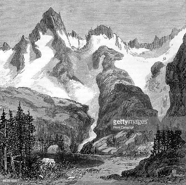 Rush Creek Glacier on the eastern slopes of the Sierra Nevada California USA 1875 Wood engraving from an article of 1875 by John Muir Scottishborn...
