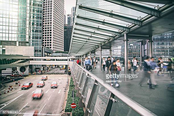 Rush hour at the financial district of Hong Kong
