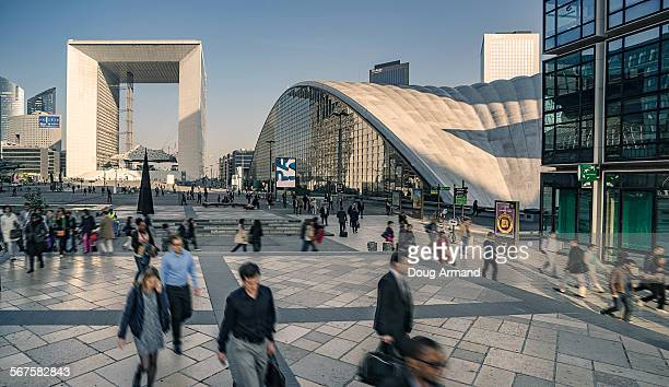Rush hour commuters at La Defense, Paris, France