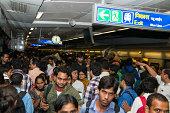 Rush hour in Delhi Metro station, India