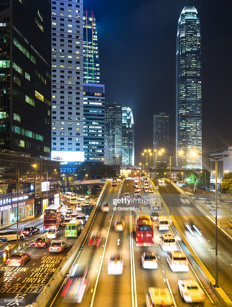 Rush hour in Hong Kong Central district : Stock Photo