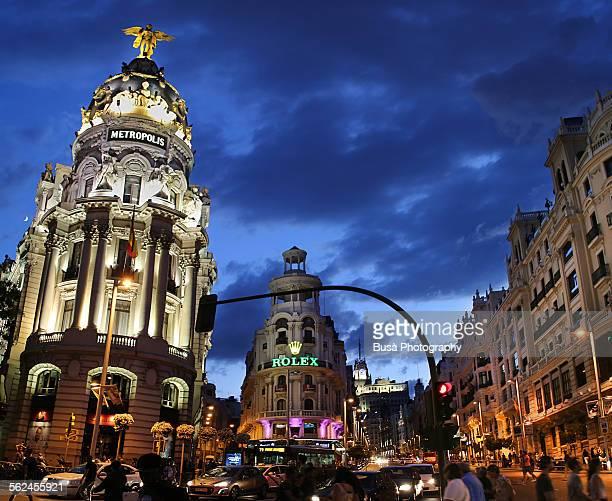 Rush hour in Madrid's 'Gran Via' at dusk