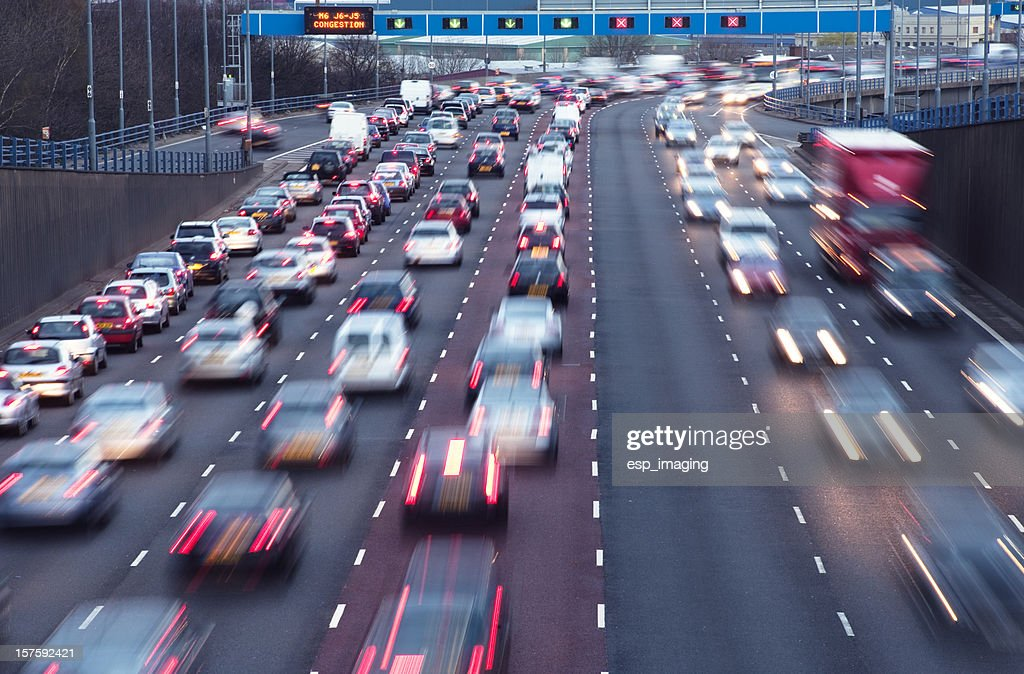 Rush hour on urban motorway Birmingham UK : Stock Photo