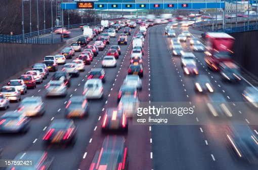 Rush hour on urban motorway Birmingham UK