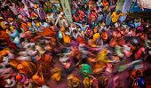 Rush hour people movement during Lathmaar Holi Barsana