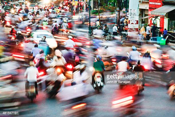 Rush hour traffic at twilight, Saigon,Vietnam